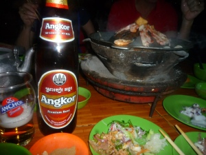 Angkor beer with Khmer barbecue: the best meal we had in Cambodia. Angkor also produces an extra stout.